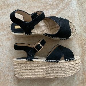 Top Shop Black Suede Espadrille Platforms
